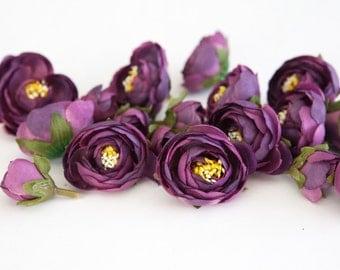 15 Small Mini Ranunculus in Purple - silk artificial flower, millinery flower - ITEM 0127