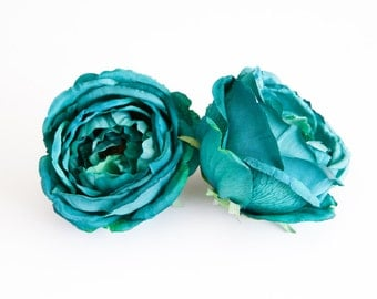 Stunning Large Rose in Teal - Silk flowers, artificial flowers, artificial flower, silk flower - ITEM 0489