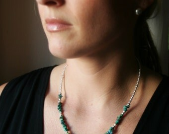 Turquoise and Sterling Silver Necklace - Genuine Turquoise Beads