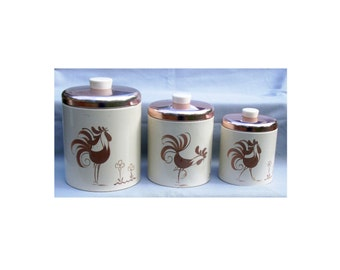 3 Vintage Tin Canisters w/Roosters by Ransburg