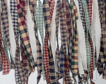 Prim Homespun Fabric Rag Strips Primitive Country Decor Muslin Ties Rustic Farmhouse Wedding  100 Pieces