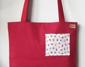 Chasing Light // Apple Red Canvas And Floral Tote Bag with small front pocket