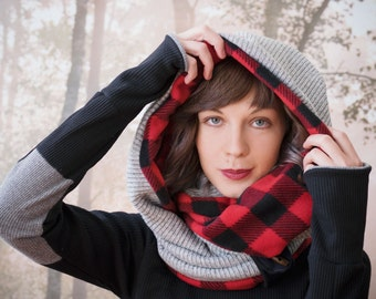 Infinity Scarf BUFFALO PLAID and GREY -reversible cowl, multiple styling options. Red plaid fleece and sweater knit, gifts under 50 dollars.