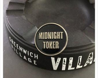Midnight Toker Black and Gold Enamel Marijuana Pin by Print Mafia®