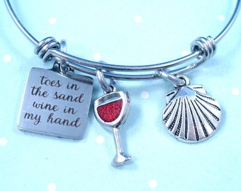 Beach Charm Bracelet,Toes In The Sand, Wine In My Hand, A Glass of Wine,Shell, Silver or Stainless Steel Bangle,Adjustable Size,Gift For Her