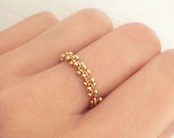 Elegant Dainty Gold or Rose Gold Grape Ring / Beaded Chain Classy Everyday Ring / Modern Lovely Delicate Elegant Ring
