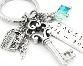 Stainless Steel Memorial Key Chain, Personalized Key Chain, Memorial Custom Key Chain, Remembrance Customized Key Chain, Men's Key Chain