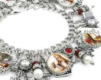 Charm Bracelet, Alice in Wonderland, Alice in Wonderland Jewelry, Mad Hatter Bracelet, Silver Charm Bracelet
