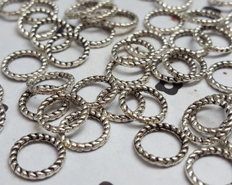 8mm Antiqued silver ring beads (25)