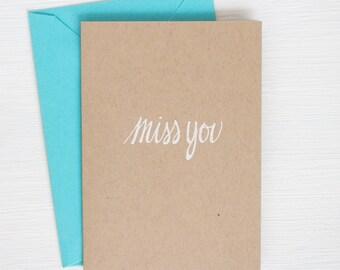 MISS YOU kraft folded notecards