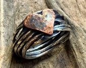 Copper heart Ring, Silver Ring, Two tones Ring, Engagement heart Ring, wire wrap Ring, Statement Ring, boho chic band - I Found A Boy R2317