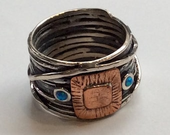 Wire wrap band, simple ring, hippie ring, Opals ring, gypsy ring, Silver copper band, bohemian ring, twotones ring - Under a Bridge R2322