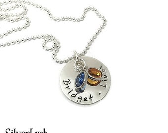 Custom Jewelry for Mom - Sterling Silver Hand Stamped Jewelry with Two Names & Birthstones