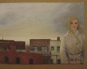 "Original Oil Painting ""Rooftop: The Girl With The Mouse-Colored Hair"" by Amy Abshier Reyes"