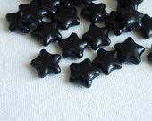 DESTASH 22 PCS Czech Glass Star Beads Black 12mm