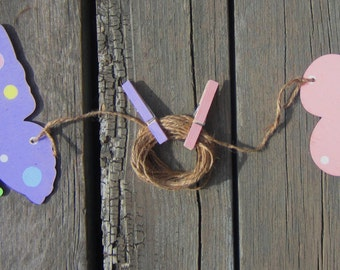 BUTTERFLY & FLOWER Art Display Clips - Hand Painted Wood - Large Size