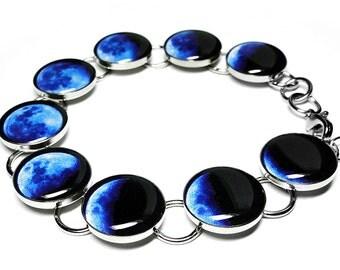 Blue Moon Bracelet, Space Jewelry, Phases Of The Moon Bracelet, Moon Phase Bracelet, Resin Bracelet, Handmade Bracelet, Solar System, Lunar