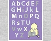 ABC Wall Art, Alphabet Nursery Art, Purple Nursery Decor, Alphabet Art, Alphabet Print, ABC Nursery Art, Baby Girl Art, Girl Nursery Art