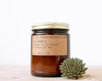 No. 23: FRANKINCENSE & OUD - 7.2 oz soy wax candle - bergamot / amber musk / resinous pine - P.F. Candle Co.