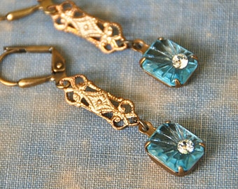Art deco blue rhinestone earrings/blue dangle earrings/vintage style earrings. Tiedupmemories