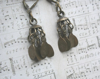 Vintage bronze dangle bell earrings Middle East hippie jingle belly dance