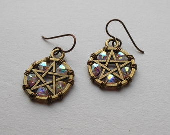 Brass Pentacle Earrings -- Brass Pentagrams, White Swarovski Crystals, Wire Wrapped Antique Brass, Niobium Ear Wires