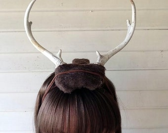 Deer Antler Headband - brown felt base - headdress head dress head band