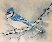 Bird Painting-Blue Jay Painting-Fine Art-Watercolor Painting of a Blue Jay Sitting in a Tree in a Snowstorm
