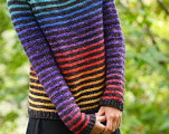 Rainbow Trail Sweater Yarn Pack Kit by Cristina Ghirlanda - Sizes: M,LG, XL, & 1XL, dyed to order