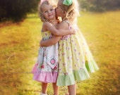 Girls Tea Party Dress Embroidered Apron Knot Dress  Toddler & Girls Yellow OR Pinks