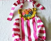 SALE 12-18M Boho Striped Baby Romper Sunsuit Ready to Ship Toddler Girl