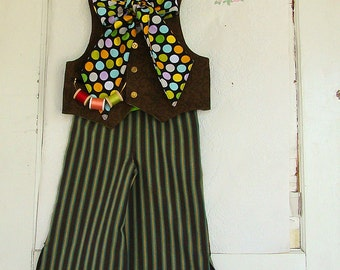 3T Boys Mad Hatter Costume READY to SHIP Vest Tie & Pants Jonny Depp Inspired Halloween Costume