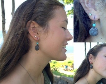 Verdigris Earrings, Copper and Metal Earrings, Copper Patina, Turquoise Stone, Rustic Earrings, Bohemian Earrings, Brown and Turquoise