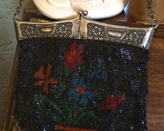 1920s Floral Beaded Flapper Purse, Edwardian Silver Bag, Carnival Glass, Micro Beads, 20s handbag, Antique purse, Vintage Bridal Wedding