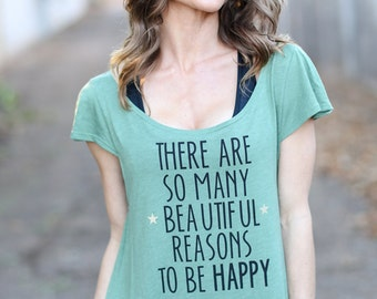 There Are So Many Beautiful Reasons to be Happy! Off the Shoulder Flutter Sleeve Tee. Made in the USA. Be Happy Tee. Women's Quote Shirt.