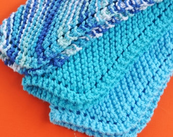 Cotton Wash Cloth, Hand Knitted Dish Cloths Wash Cloths, Ocean Blues, Wash Cloth, Handmade Cloths