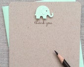 Mint Baby Elephant Baby Boy or Girl Baby Shower Thank You Cards, Recycled Kraft Baby Elephant Baby Shower Thank You Cards, Handmade Baby