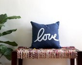 Navy Blue and White Throw Pillow / Blue and Gold Love Pillow / Love Lumbar Pillow / Hand Printed Love Pillow