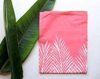 Peachy Pink Palm Tree Leaf Tea Towel - Hand Printed Tropical Dish Towel
