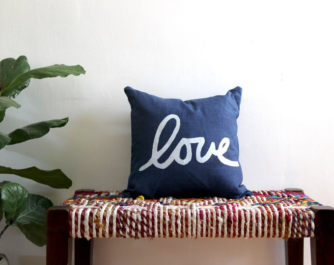 Navy Blue and White Throw Pillow