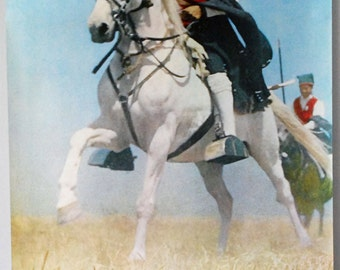 Portugal Travel Poster, 1960s Europe Souvenir, Ribatejo Portugal, Original Vintage Poster, White Horse Photo, Equestrian Folk Costume
