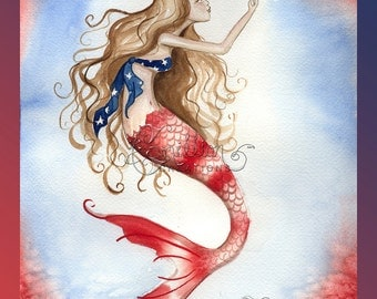 Red, White, and Blue Mermaid from Original Watercolor Painting by Camille Grimshaw