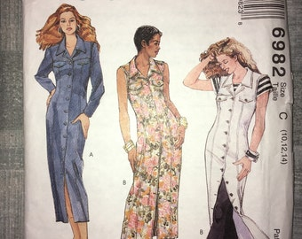 Uncut Vintage McCall's pattern No. 6982 - Buttoned Slim Dress - Sizes 10, 12, 14 circa 1994