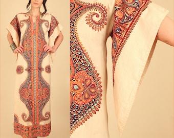 ViNtAgE 70's Dashiki Maxi Dress Angel Wing Caftan Bohemian Psychedelic HiPPiE Boho Cotton Dress Mandala Woodstock Era Small S
