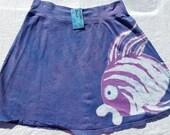 XL batik knee length a-line flippy skirt, Big Fish