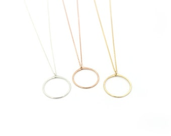 Gold Layering Necklace , Hoop Circle Pendant in 14k Gold Fill , Sterling Silver , Rose Gold , Minimalist - Rim ( As Seen On Amber Rose )