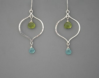 Sterling silver lotus and gemstone handmade earrings, peridot and apatite, Rachel Wilder Handmade Jewelry