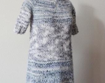 Hand Knit Henley Neckline Sweaterdress - Women's Sweater Dress, Warm Wool Blend, Handknit, a Feathery Look. The Snow Owl Dress.