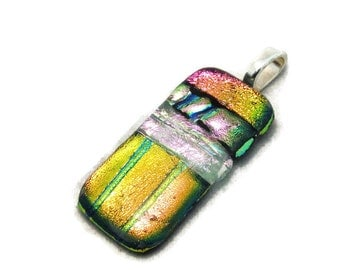 Dichroic Glass Necklace Pendant - Dichroic Glass Jewelry - Fused Glass Jewelry - Pink Stripe Necklace - Glass Art Pendant