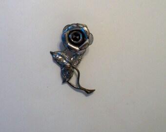 "Sterling Silver Brooch, Vintage Rose Brooch, Vintage Flower Pin, ""Beau Sterling"" Flower Brooch, Silver Lapel Pin, Silver Hat Pin"